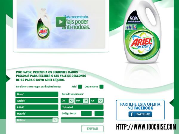 Pede já o teu vale desconto 2 euros em produtos Ariel
