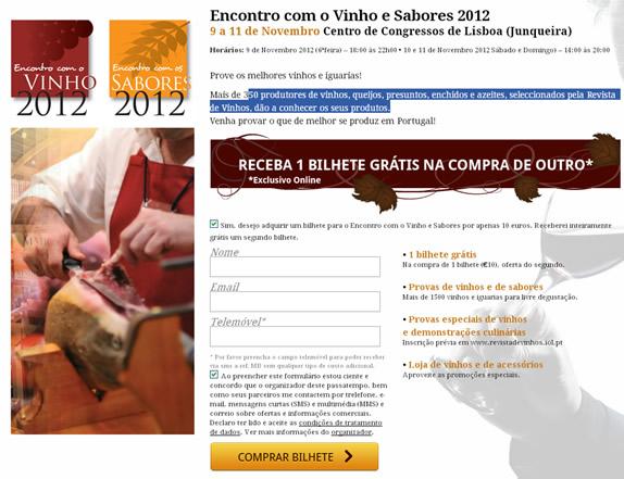 Vinho e Sabores 2012 – receba 1 bilhete grátis
