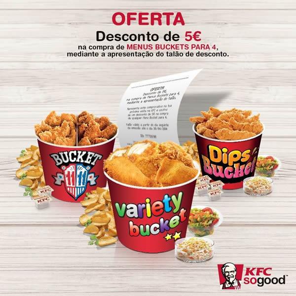 Oferta de desconto de 5€ para Menus Bucket nos restaurantes KFC