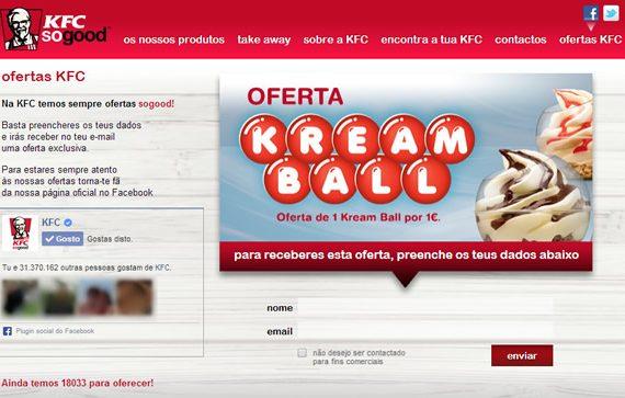 Oferta KFC – 1 Kream Ball por apenas 1 euro