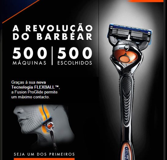 Amostras grátis Gillette Fusion Proglide com Flexball™