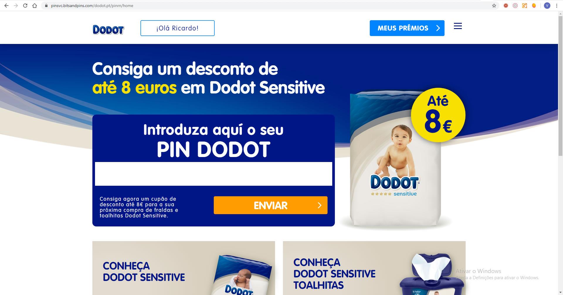Oferta voucher fraldas Dodot até 8 euros